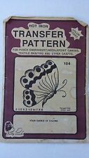 Vintage Pretty Punch Iron-On Transfer Butterfly Needlepoint Crafts Textile Paint