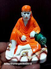 Resin White Lord Sai Baba Statue Car Dashboard Decor India Religious Figurine