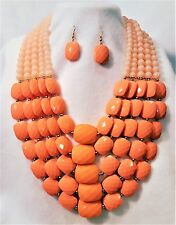 CHUNKY ACRYLIC LAYERED SQUARE ROUND BEADS NECKLACE SET VARIGATED PEACH GOLD