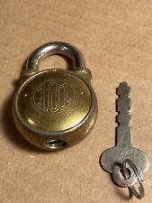 Old Vintage 101 Round Padlock Lock With KEY Made In USA Nice Condition