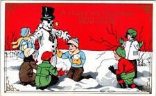 Embossed HAPPY and PROSPEROUS NEW YEAR  Snowman, Children  c1910s  Postcard