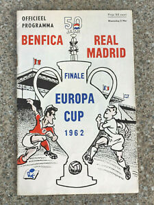 1962 - EUROPEAN CUP FINAL PROGRAMME - BENFICA v REAL MADRID - ORIGINAL