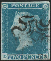 1841 SG14 2d BLUE PLATE 3 FINE USED 4 MARGINS MALTESE CROSS IVORY HEAD (DA)