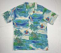 Vintage Shore Things Hawaiian Shirt Mens Size M Medium Poly Rayon Made In USA