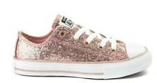 NWT - CONVERSE Kids' '365787C' Rust Pink/White LACE-UP ATHLETIC GLITTER SHOES -3
