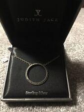 "JUDITH JACK Sterling Silver Swarovski Marcasite Round  Pendant 16"" Necklace"