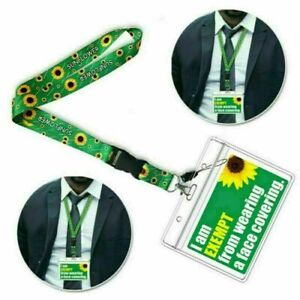 Exemption ID Card Badge Holder Pocket Soft Neck Sunflower Lanyard PVC Card