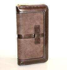 PORTAFOGLIO marrone bronzo donna borsello portamonete eco pelle vernice zip G15