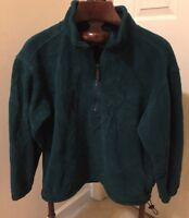 EDDIE BAUER  Part Zip Jade Green Plush Fleece Pullover Jacket_Mens  XS