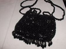 SMALL SEQUIN FRINGE PURSE EVENING BAG JET BLACK GLITTERING FOR PROM FORMAL EVENT