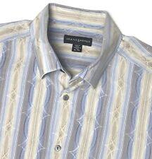 JHANE BARNES Silk Cotton L/S Shirt Geometric Patterned  - Mens XL  Fits Slim