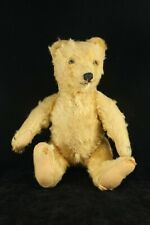 "Antique Vintage Jointed Mohair 11"" Teddy Bear - White Mohair Glass Eyes"