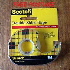 3M Scotch Double-Sided Tape 12mm x 11.4m lg   1 x Roll with Dispenser BRAND NEW