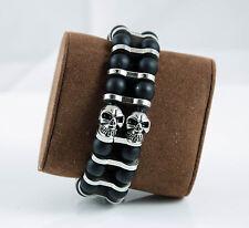 Handmade Herren Armband Totenkopf Onyx Edelstahl Halbedelstein Magnetverschluß