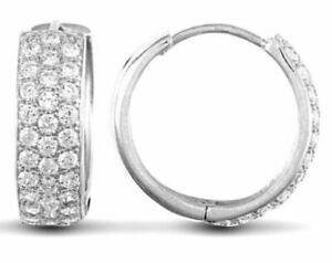 Jewelco London 9ct White Gold CZ 3 Row Pave 5.3mm Huggie Hoop Earrings 16mm