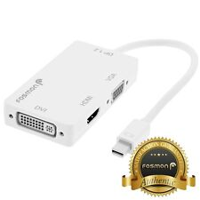 Fosmon Mini DisplayPort 1.2a to 4K HDMI, DVI, and VGA Passive Adapter - White
