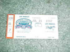 1987 St Louis Cardinals v Los Angeles Dodgers Baseball Ticket Willie McGee HR