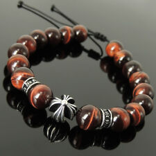 Precious Cross Pattern Design Bracelet Red Tiger Eye 10mm Sterling Silver 1515