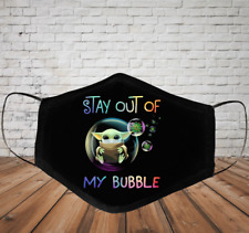 Baby Yoda Stay Out Of Face Mask 3D One Size 100% Cotton