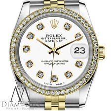 Original Women's Rolex 31mm Datejust 2 Tone White Color Dial with Diamond Watch