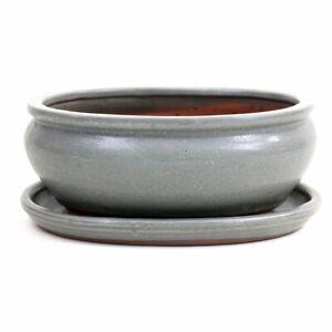 Bonsai - Schale oval 20 x 16 x 8 cm, grau, mit Untersetzer 23139