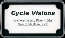 Cycle Visions black license plate frame with blind holes & hardware for Harley