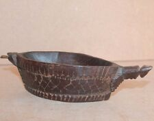 Old 1900's Antique Beautiful Hand crafted Wooden Boat Shape Grinder/KHARAL