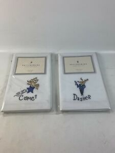 2 New Sets of Pottery Barn Reindeer Dasher & Comet Hand Towel (2pc Per set )
