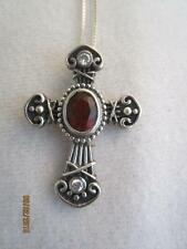 STERLING SILVER ETRUSCAN CROSS PENDANT W/ 2 CARAT GARNET & CZ ACCENTS & CHAIN