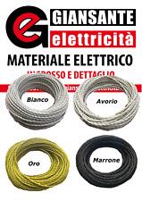 CAVO ELETTRICO A TRECCIA IN TESSUTO 3x1 / 3x0,75 BIANCO AVORIO ORO MARRONE