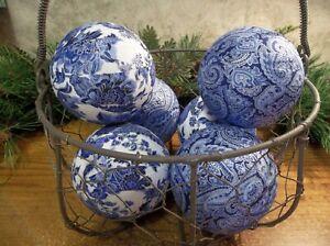 "6 Blue & White Paisley 3"" Rag Balls, Farmhouse Bowl, Basket, Jar Fillers, New"