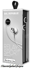 NEW sealed SolRepublic Relays Sport Earbuds, White/black, for iPod/iPhone/IPad