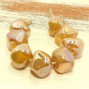 Quinlan Glass Midas Nuggets Handmade Lampwork Glass Beads SRA