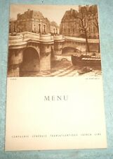 VINTAGE MENU CRUISE PAQUEBOT LIBERTE FRANCE DINNER 1955