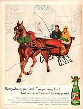 1960 Seven Up PRINT AD 7up Soda Vintage Bottle One Horse Sleigh Theme decor