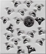 YOU GET 20  METAL SILVER TONE WINGED SKULL CHARMS. JUNKMANRALF U.S. SELLER - C11