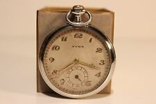 "ART DECO WW2 ERA SWISS OPEN FACE  MECHANICAL HAND WIND UP POCKET WATCH ""CYMA"""