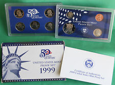 1999 United States Mint ANNUAL 9 Coin Proof Set Complete with Original Box & COA