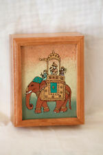Boîte bois éléphant Inde Vintage wooden trinket box India Elephant