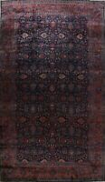 Antique Vegetable Dye Oversize All Over Floral Rug Hand-Knotted Wool 12x21 FINE