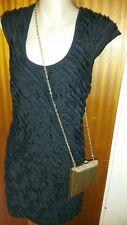 Womens Black Bodycon Dress Temt Brand Sz S Plus Collette Gold Clutch