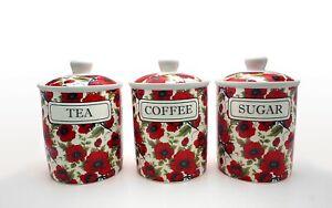 POPPY FINE CHINA TEA COFFEE SUGAR JARS/CANISTERS
