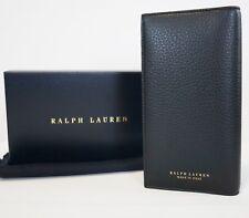 RALPH LAUREN PURPLE LABEL Black Pebbled Leather Continental Bifold Long Wallet