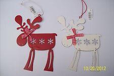 Set of 2 Metal Reindeer Christmas Tree Decorations Nordic Design