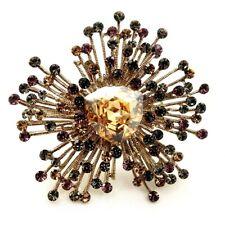 Vintage Golden Metallic Burst Champagne Art Deco Flower Brooches Heart Stone Pin