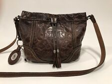 """FOSSIL """"Winslet"""" BROWN Leather Embossed Tooled Crossbody Drawstring Bag"""
