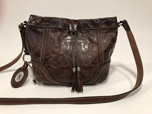 "FOSSIL ""Winslet"" BROWN Leather Embossed Tooled Crossbody Drawstring Bag"