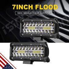 2x 7inch 400W LED Work Light Bar Flood Spot Combo Fog Lamp Offroad Driving Truck