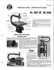 "1955 Atlas 4011 /Power-King 18"" Jig Saw (Bulletin J4011-2)  Instructions"