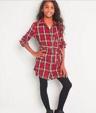 GAP KIDS GIRL PLAID TWILL LONG SLEEVE SHIRT DRESS NWT SMALL (6-7) M3 NNN